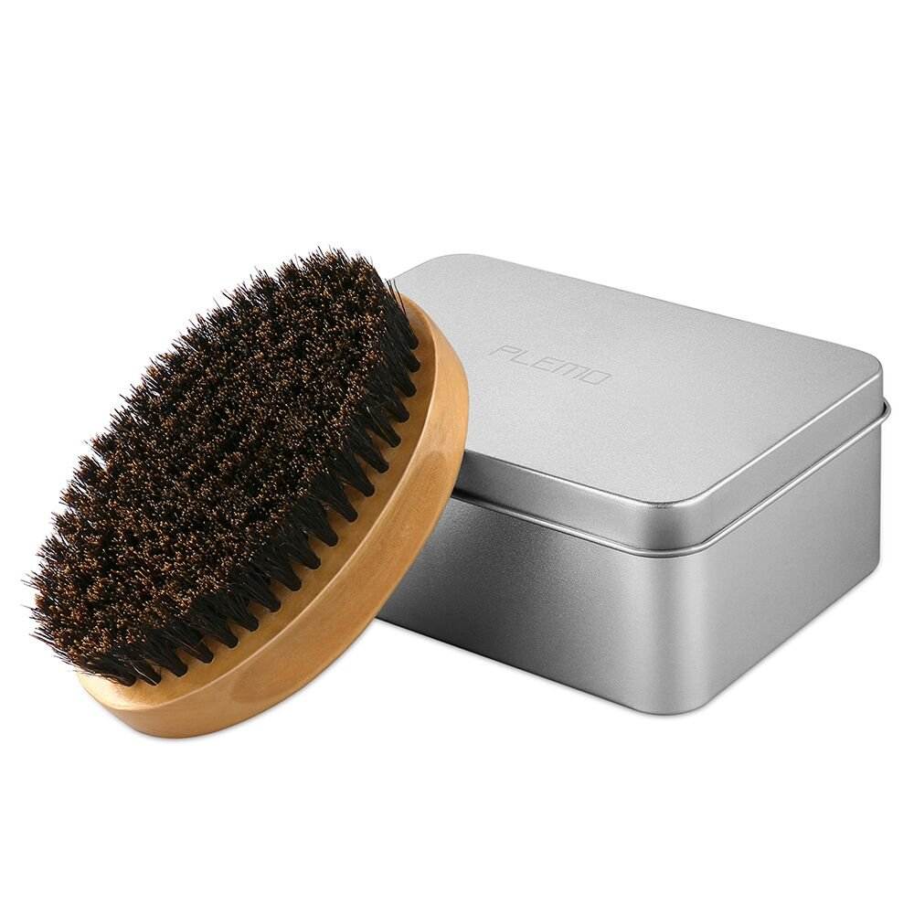 100% Boar Bristles, Plemo Beard Brush for Mustache Grooming & Styling with Metal Case BB-T