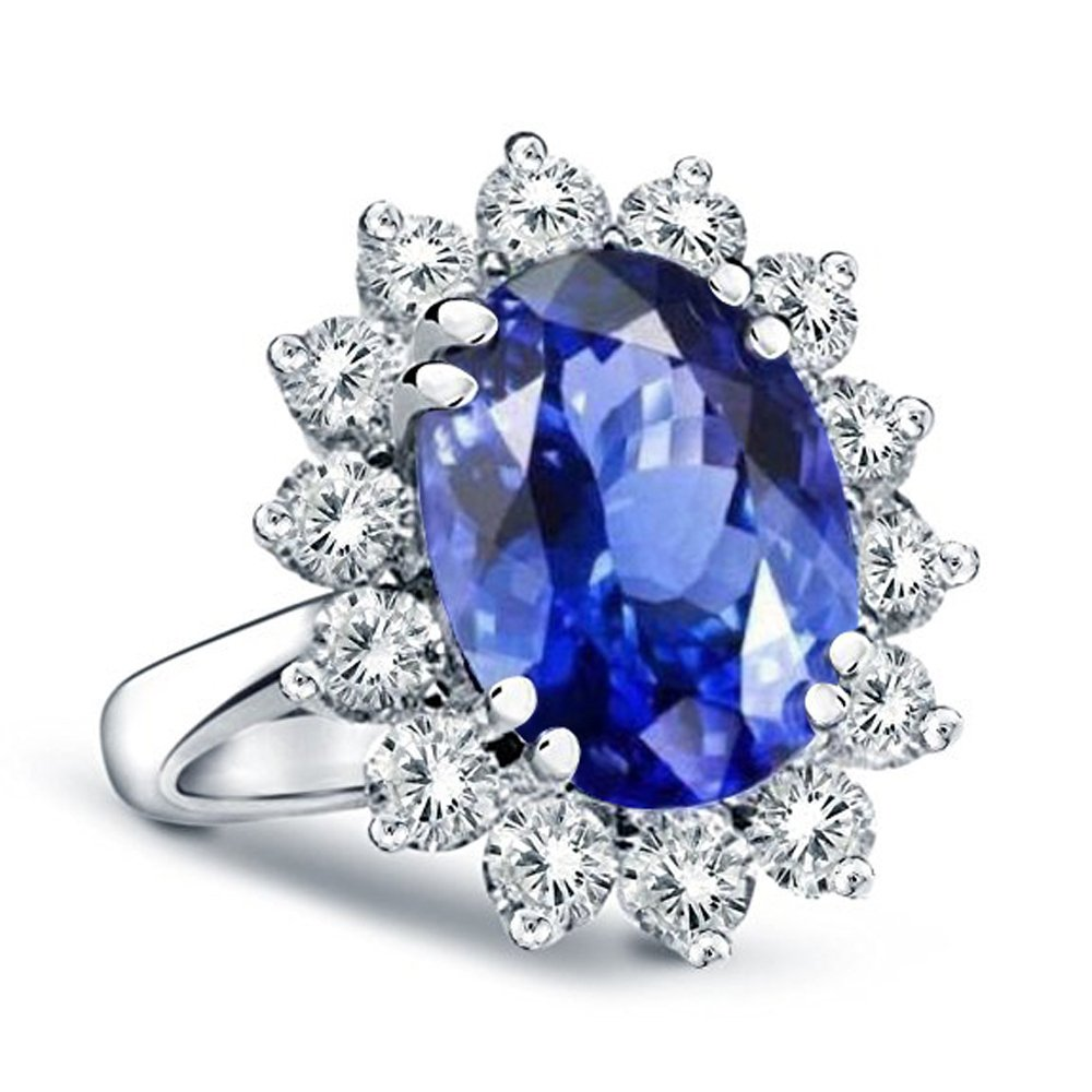 14K Gold Princess Diana Genuine Diamond & Genuine Sapphire Ring, 3.00ctw (7)