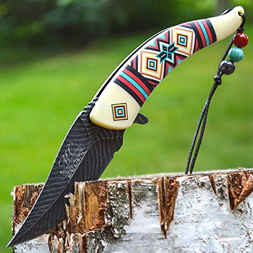 8.5 Native American Indian Spring Assisted Open Pocket Knife Damascus White FEATHER – Firefighter Rescue Pocket Knife – Hunting Knives, Military Surplus – Survival and Camping Gear