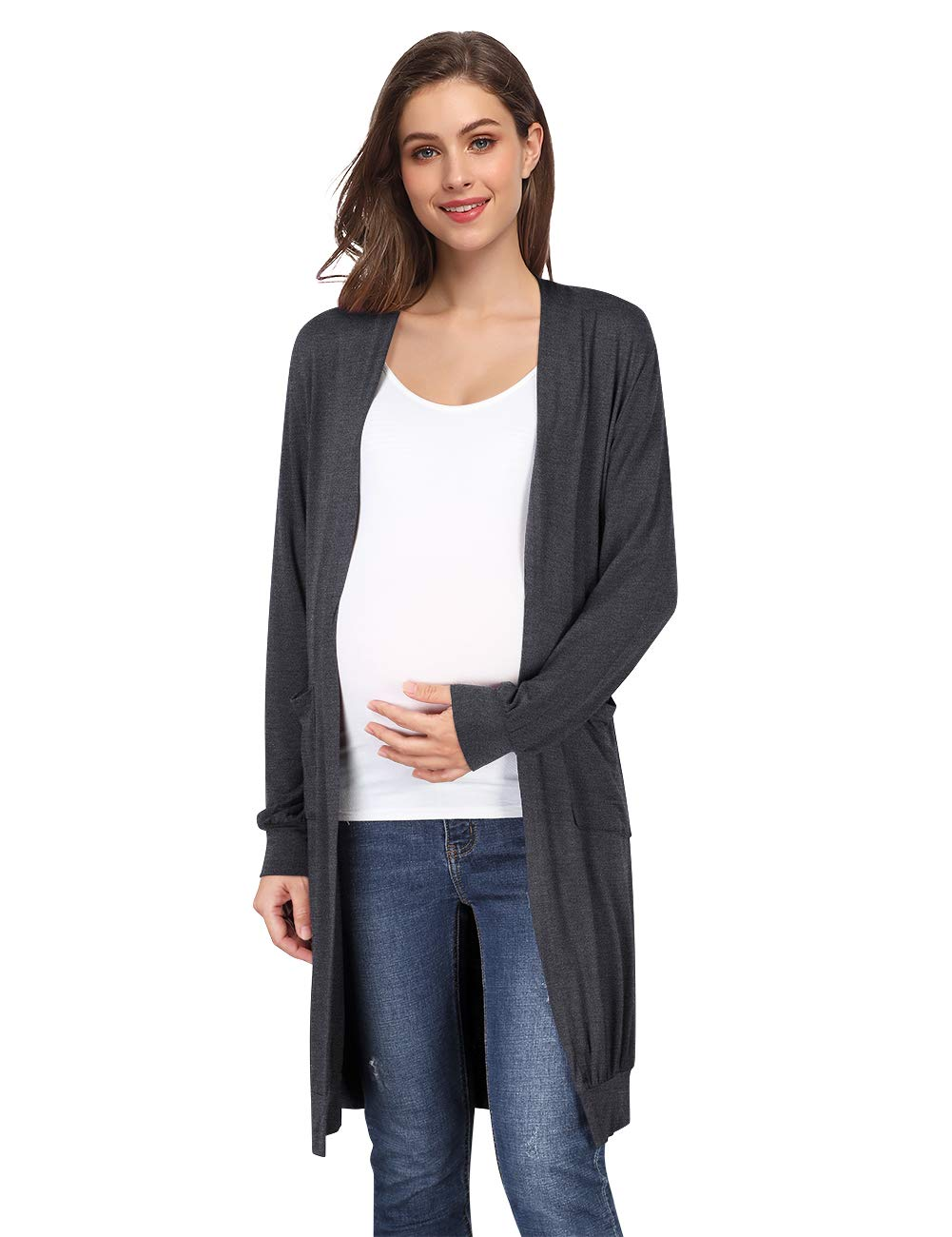 Coolmee Women's Maternity Cardigan Long Sleeve Lightweight Casual Cardigan with Pockets Grey XL by Coolmee