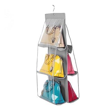 Vercord 6-Pocket Hanging Purse Handbag Tote Storage Holder Organizer Dust-proof Closet Wardrobe Hatstand Space Saver, Grey
