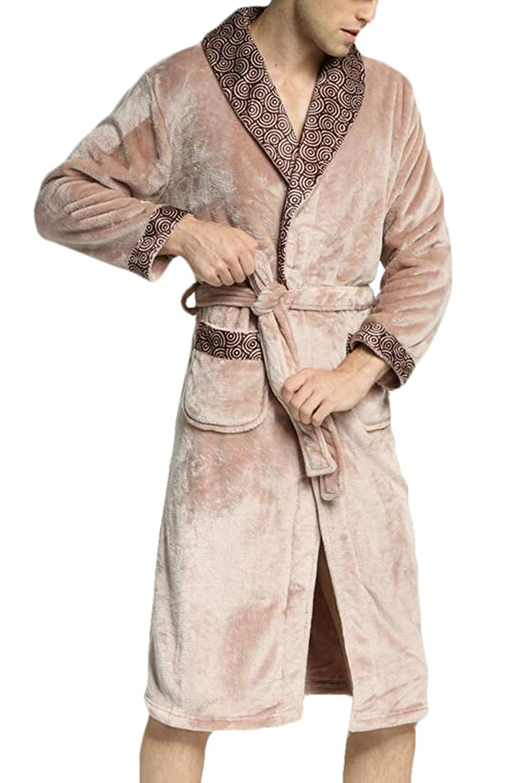 BYWX Men Flannel Bathrobes with Long Sleeve Kimono Knit Sleepwear