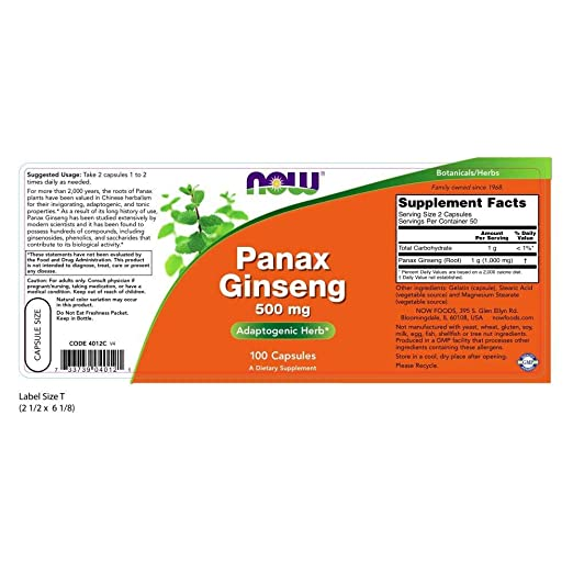 Amazon.com: NOW Foods Panax Ginseng 500mg 250 capsules (Pack of 2): Health & Personal Care
