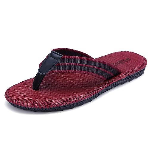Chanclas Rojas Zapatos de Playa al Aire Libre de los Hombres de Verano Botines Antideslizantes Inferiores Suaves Zapatos de Pareja: Amazon.es: Zapatos y ...