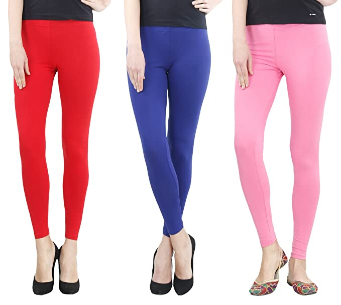 f05968426ba564 FashGlam Premium Ankle Length Leggings Combo - Red,Royal Blue,Baby ...