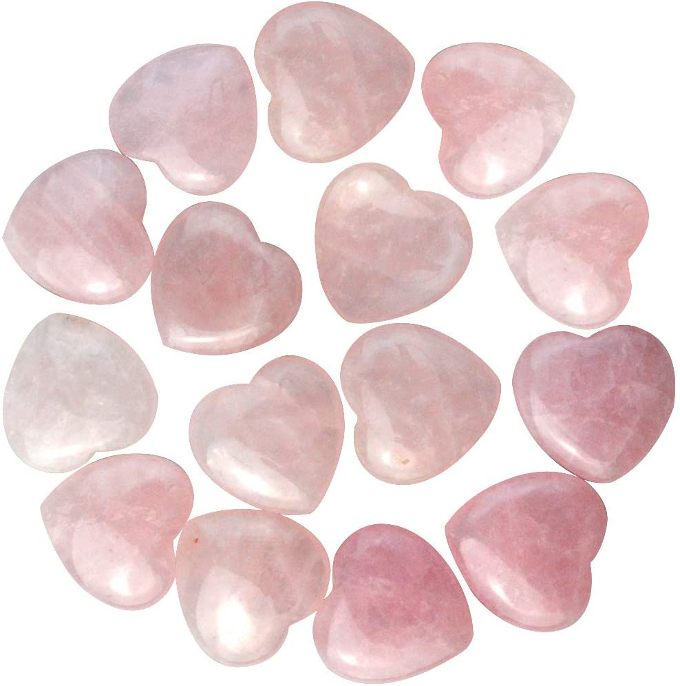 Marrywindix 15 Packs 0.8 Inches Healing Crystal Natural Rose Stone Heart Love Carved Palm Worry Stone Chakra Reiki Balancing