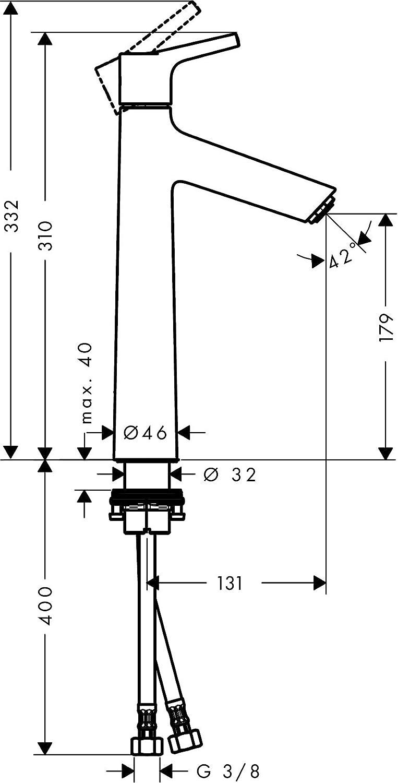 Chrom Armatur mit Auslauf H/öhe 80mm und Zugstangen-Ablaufgarnitur hansgrohe Wasserhahn Talis S CoolStart