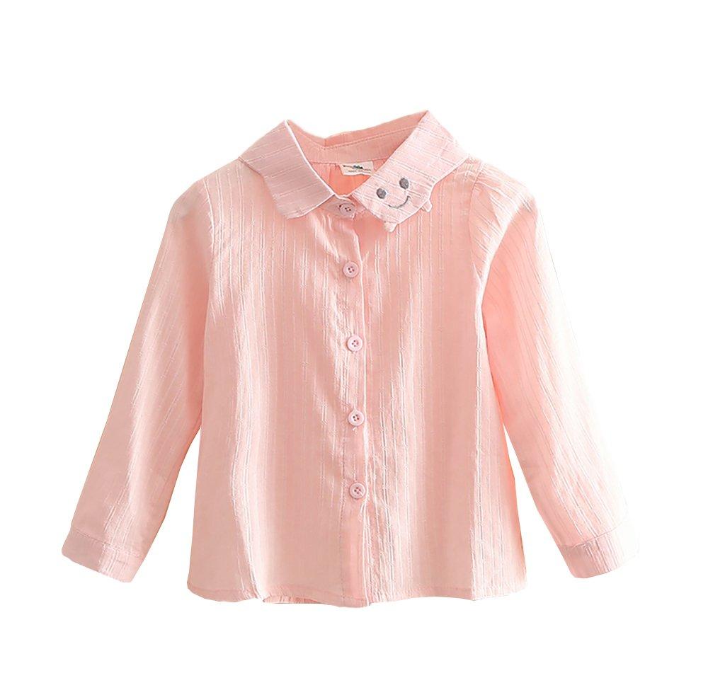 Abalaco Kids Girls Cotton Summer Shirt Cute Bowknot Button Open Peter Pan Collar Blouse Long Sleeve Soft Shirt (5-6 Years, Pink)