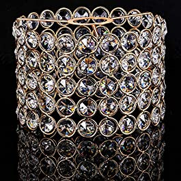 Gold Crystal Lamp Shade Sparkly Ceiling Light Shade Fitting for Living Room, Bedroom and Bathroom, Warm White, Bulb Not Included (1 Piece, 15 cm)