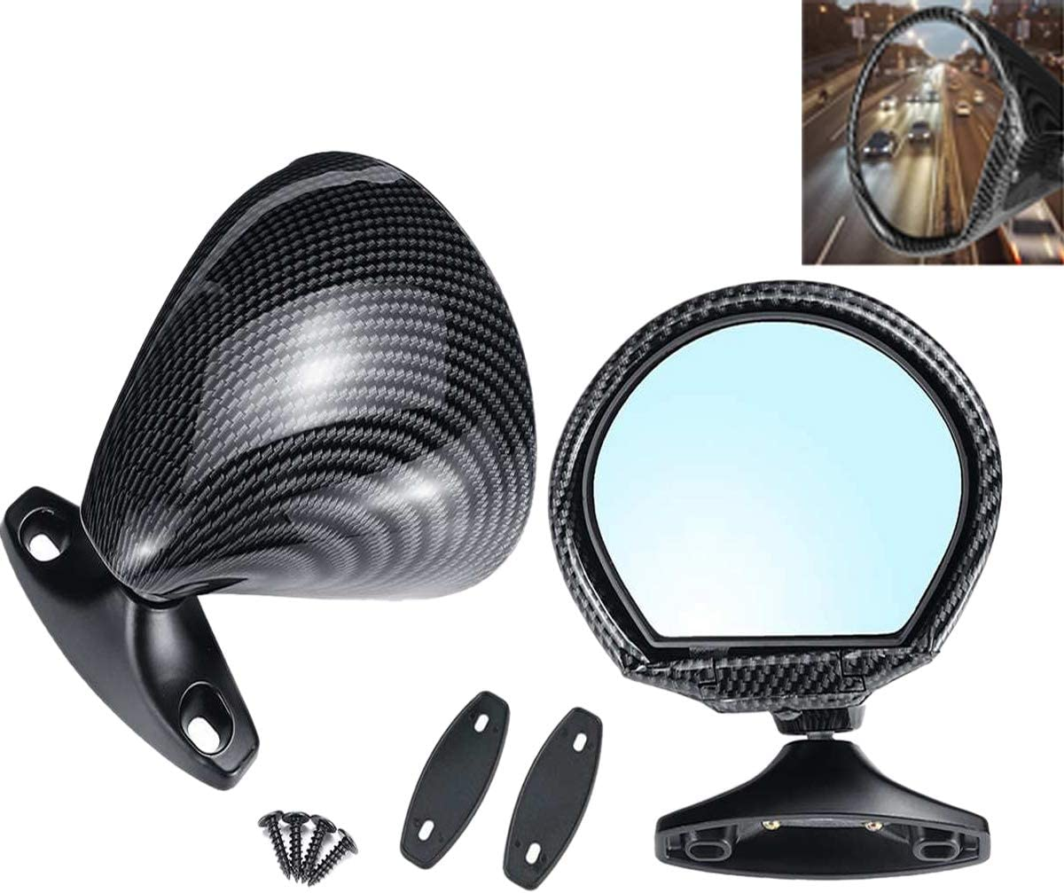 WOVELOT 2Pcs Car Universal California Style Rearview ABS Carbon Fiber Color Door Wing Side Mirror Rearview