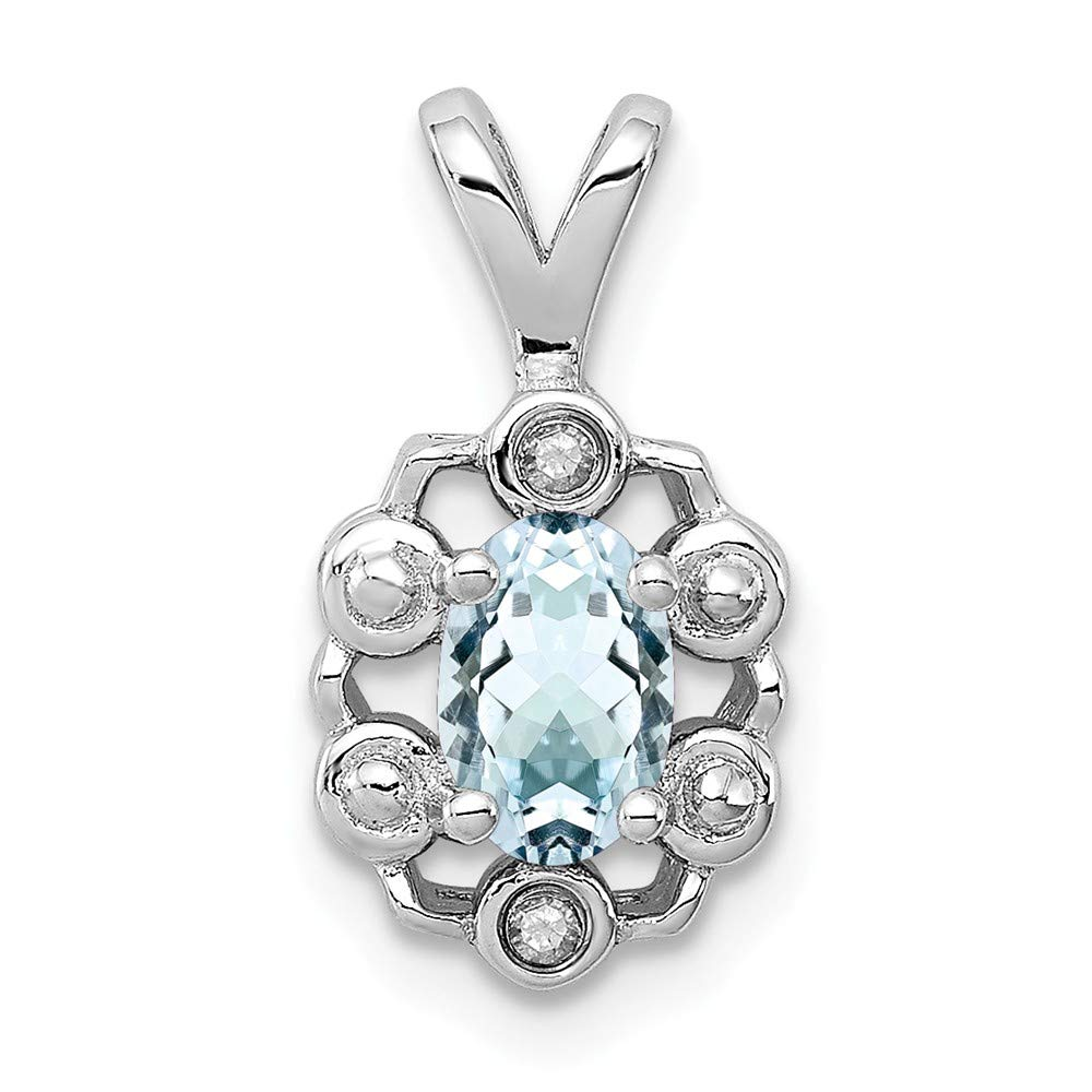 Mia Diamonds 925 Sterling Silver Solid Aquamarine and Diamond Pendant 15mm x 9mm .01cttw