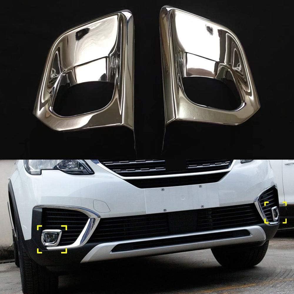 Exterior ABS Chrome Front Fog Light Cover Trim 2pcs For Peugeot 5008 2017