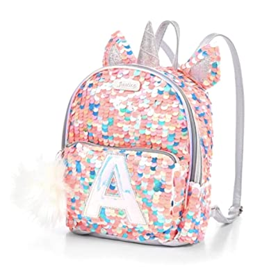 Justice Girls Coal Pink Silver Unicorn Flip Sequin Mini Backpack Bag (B)   Kids' Backpacks