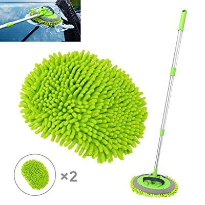 2 in 1 Microfiber Car Wash Mop Mitt with Long Handle, Car Wash Brush Duster Extension Pole 45 in, Scratch Free Cleaning Tool Dust Collector Supplies for Washing Car,Truck, RV. 2Pcs Mop Head: Automotive
