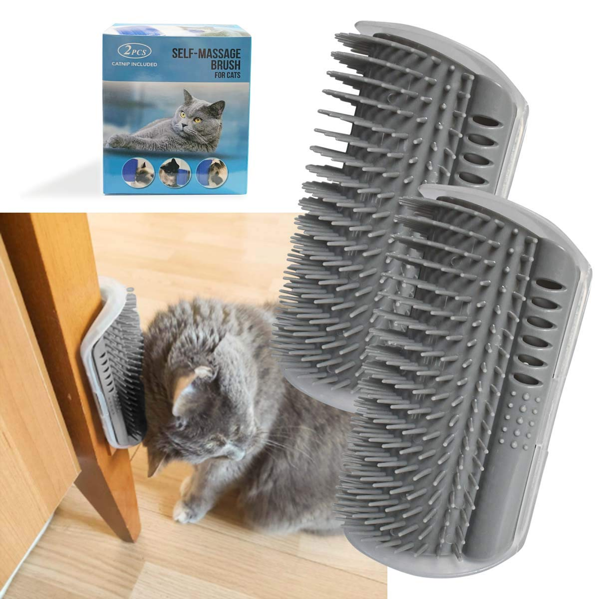 yuntop 2 Pack Softer Cat Corner Self Groomer with Catnip Wall Corner Massage Comb Corner Scratcher Pet Grooming Brush Comb Grooming Wall Brush Self Massage Tool for Long & Short Fur Kitten Cats Dogs