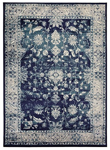 Mahal Persian Rugs Carpets - Studio Collection Vintage Mahal Allover Design Traditional Persian Area Rug Rugs 2 Different Color Options (Mahal Navy Blue, 8 x 10)