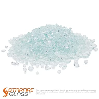 Starfire Glass® 20-Pound x 1/4  Arctic Ice Fire Glass for Fireplace Glass and Fire Pit Glass