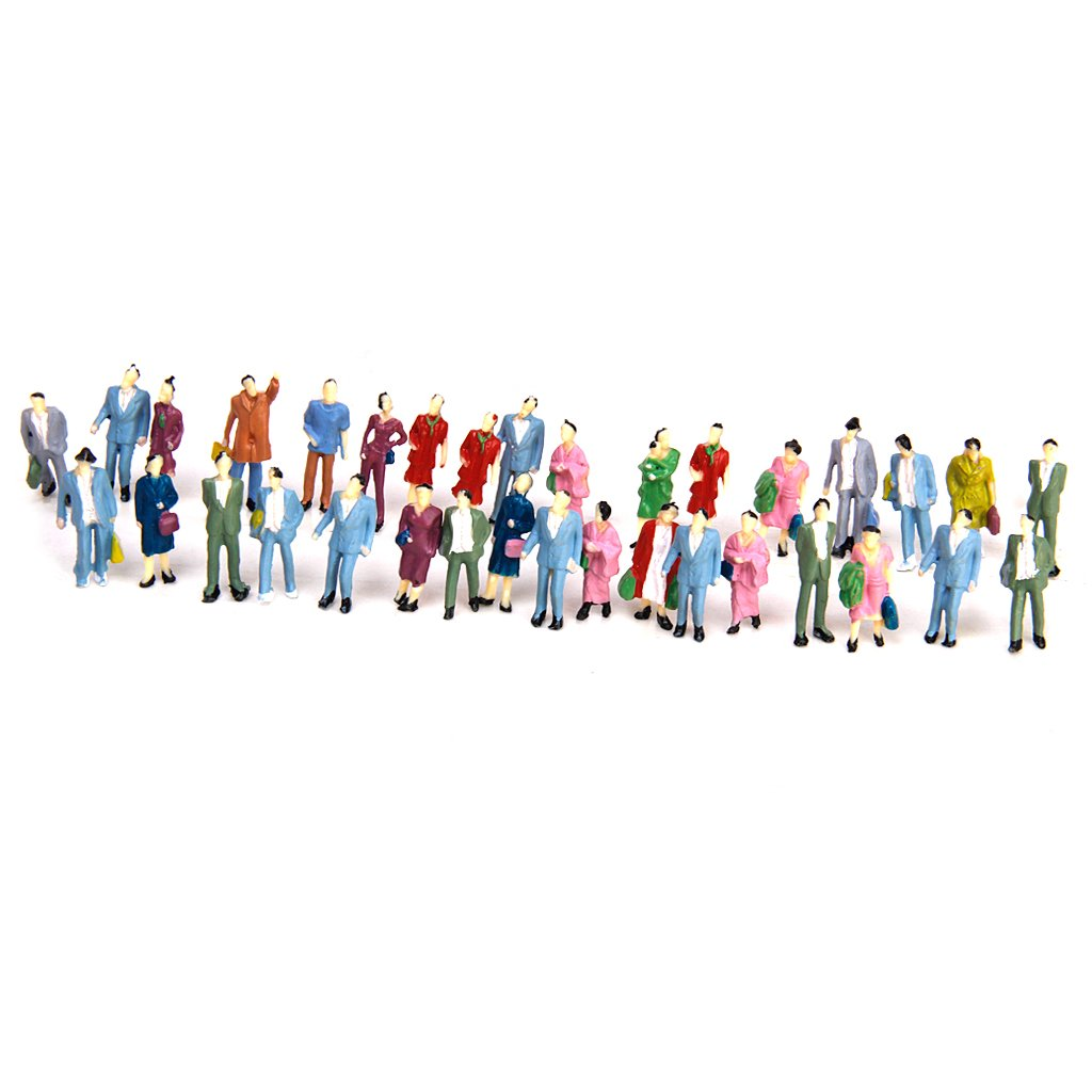 50pcs Modelos de Personas Pintadas Accesorios de Modelismo de Paisaje de Tren de Escala 1: 87 Generic