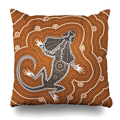 Ahawoso Throw Pillow Cover Bush Australian Based On Aboriginal Dot Abstract Native Australia Painting Outback Lizard Map Design Home Decor Pillowcase Square Size 18 x 18 Inches Zippered Cushion - Design Map Australian