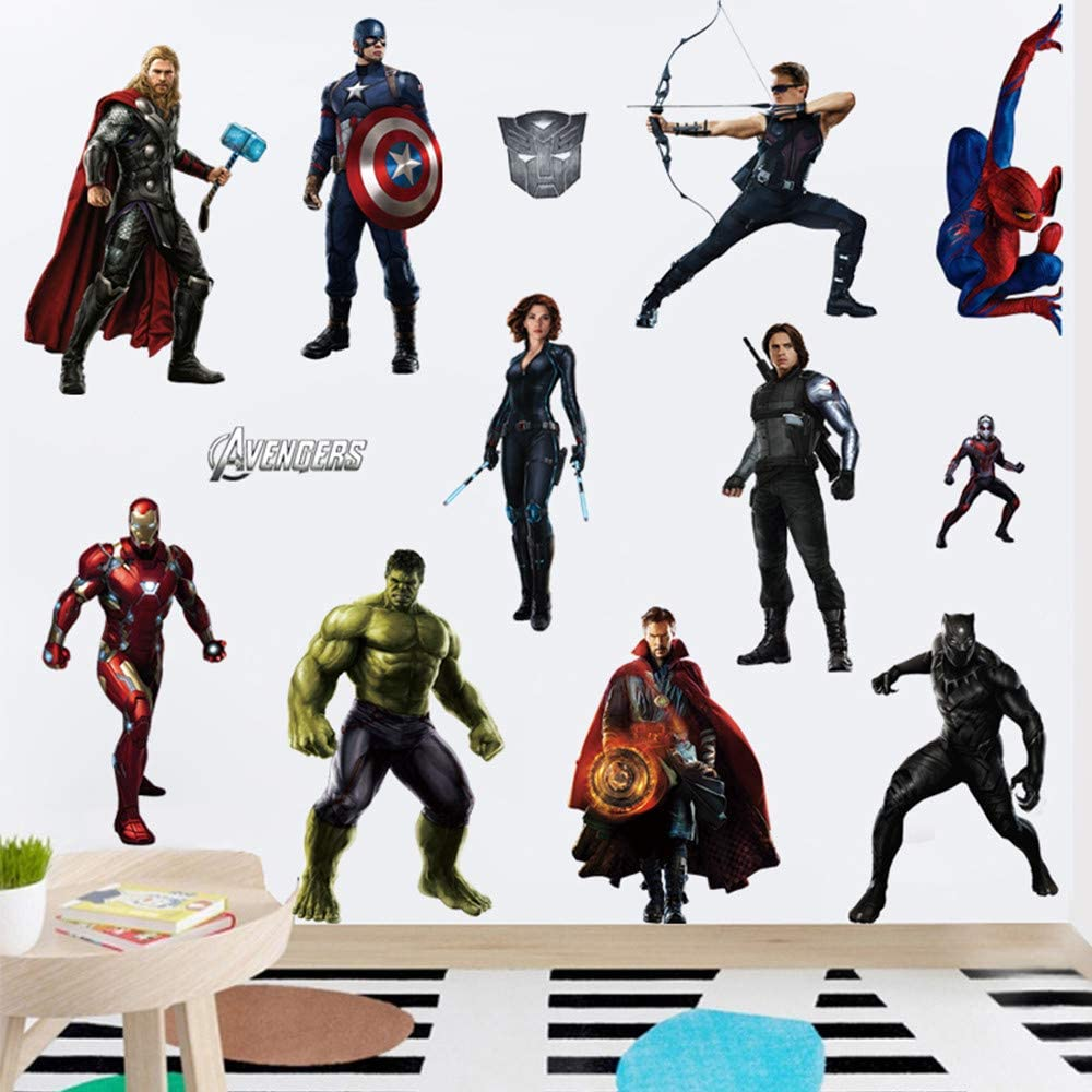 FJIANWEI Superhero Wall Stickers 3D Avengers Removable Wall Decals Decoration Boys Bedroom Living Room for Kids Nursery(19.7x27.6 Inch)