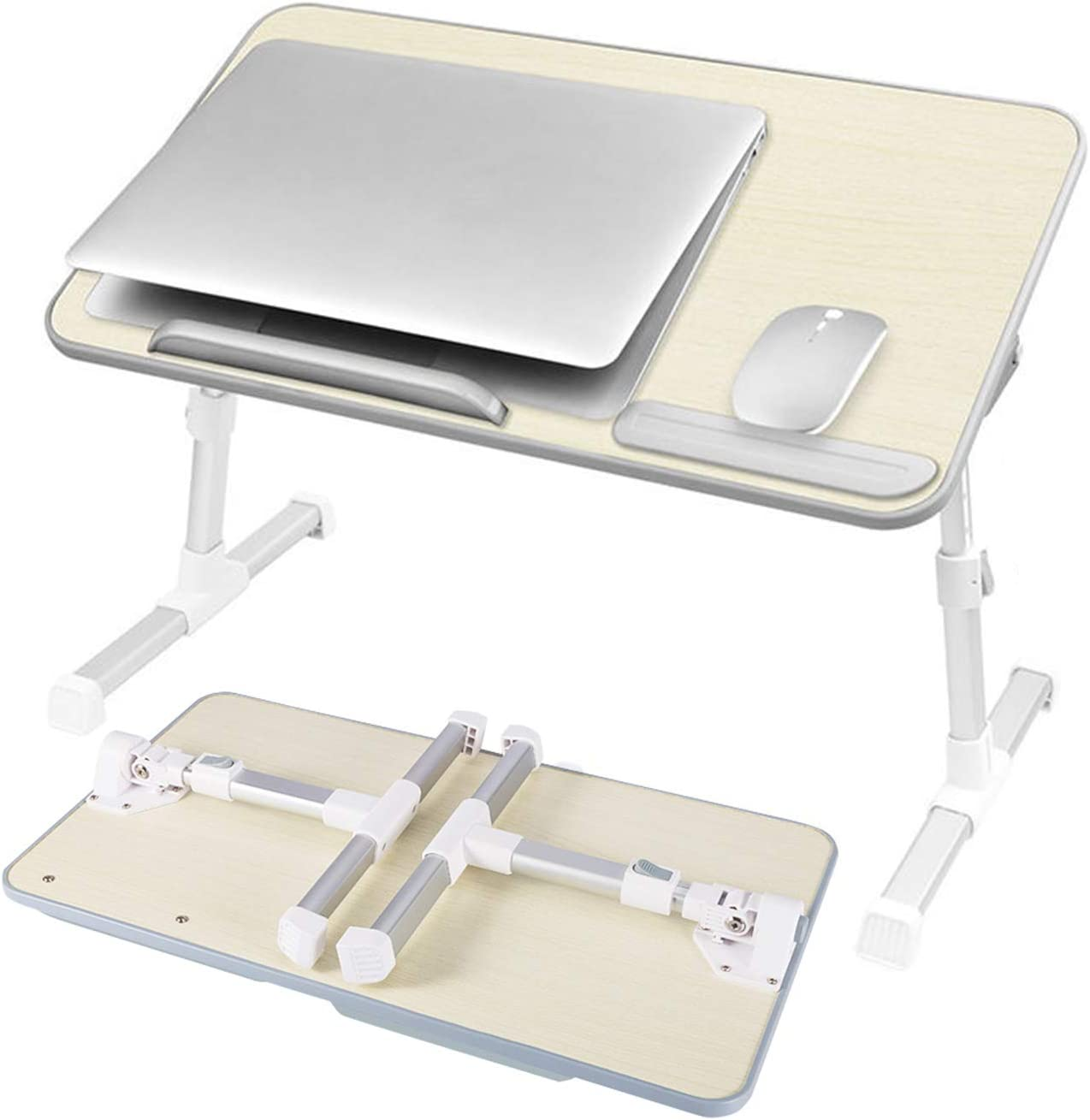 Bed Desk for Laptop, Adjustable Bed Table Tray Computer Desk, Portable Laptop Stand with Height and Angle Adjustable for Eating, Working, Writing, Gaming, Drawing (11.8IN X 20.4IN) (Wood)