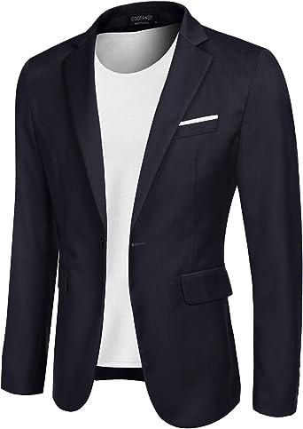 MAXMODA Uomo Blazer Slim Fit Giacca Blazer Casual Blazer Elegante Blu