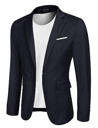 LEOCLOTHO Giacche da Uomo Casual Slim Fit Monopetto Giacca Costume Blazer Festivo Vestito da Festa Tops