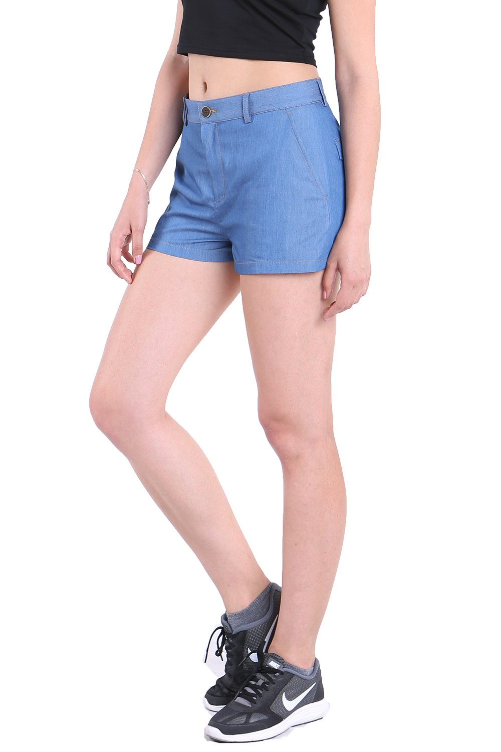 Fyriona Women's Denim Blue Jean Shorts Mid Waisted Loose