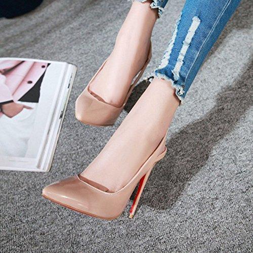 Geschlossen Pfennigabsatz Spitze Kunstleder Slingback Sandale Zehen Damen Rosa Aisun Lack qntpwT