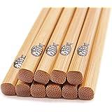 BoomYou 5 paires de baguettes chinoises en bambou naturel Santé Baguettes en bambou légères en bois Baguettes réutilisables avec boîtes de rangement de boîtes Style de poisson gras japonais - 22,5 cm