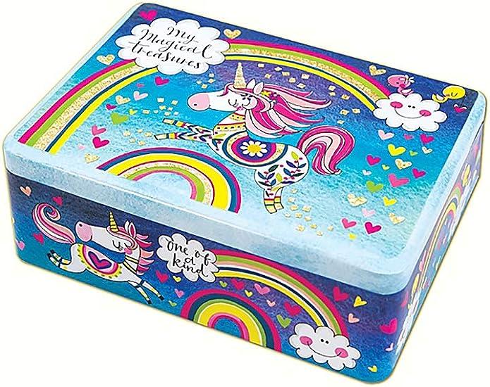 Rachel Ellen – Caja de Lata con Tesoros mágicos de Unicornio y arcoíris con Purpurina – Caja de Almacenamiento de Juguetes para niñas y niños: Amazon.es: Hogar