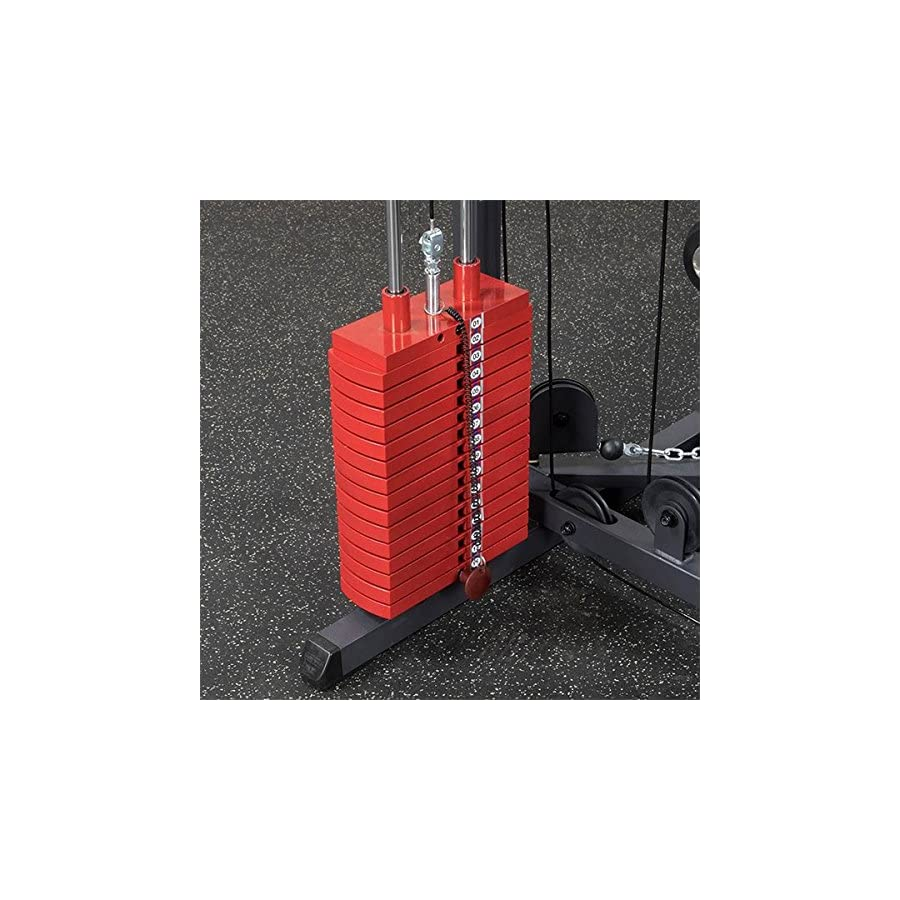 Body Solid DELUXE CABLE CROSSOVER #GDCC250 Functional Trainer Home Gym with Premium RED Stacks