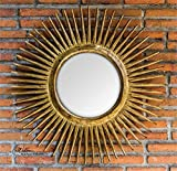 Ambient Hand Carved Teak Wood Finished In A Heavily Distressed Sanded Gold Leaf Gold Starburst Mirrors