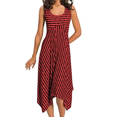 💘💘💘Vestidos De Mujer Falda Women Casual High Waist Stripe ...