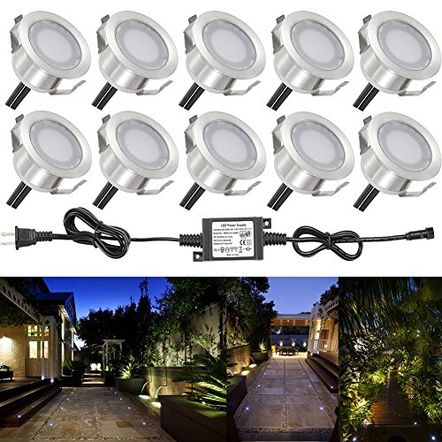 Sumaote Low Voltage LED Deck Lights Kit Waterproof Φ1.22 Outdoor Garden Patio Step Stairs Landscape Decor Recessed Lamp LED In-ground Lighting, (10pcs, Cold White), Stainless Steel Body