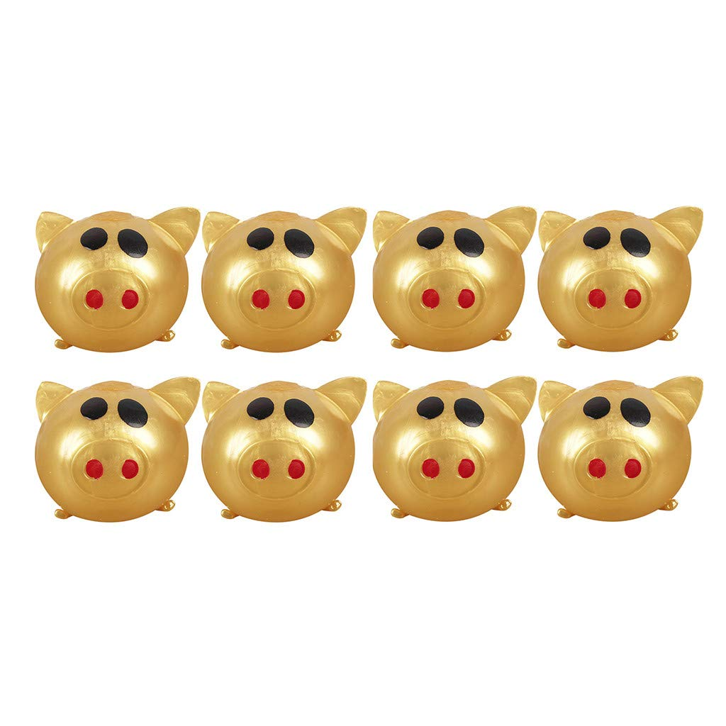 Fangoog Anti-Stress Jello Pig Cute Toys, Splat Water Pig Ball Vent Toy Squishy Soft Venting Sticky Pig Squeezing Toys Stress Reliever Decompression Toy Gifts for Kids Adults Party (8Pcs) by Fangoog
