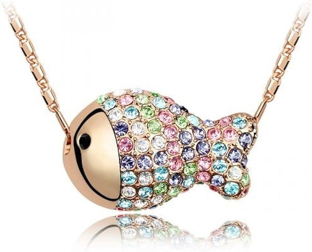Sparkling Rose Colored Fish Slider Charm Necklace