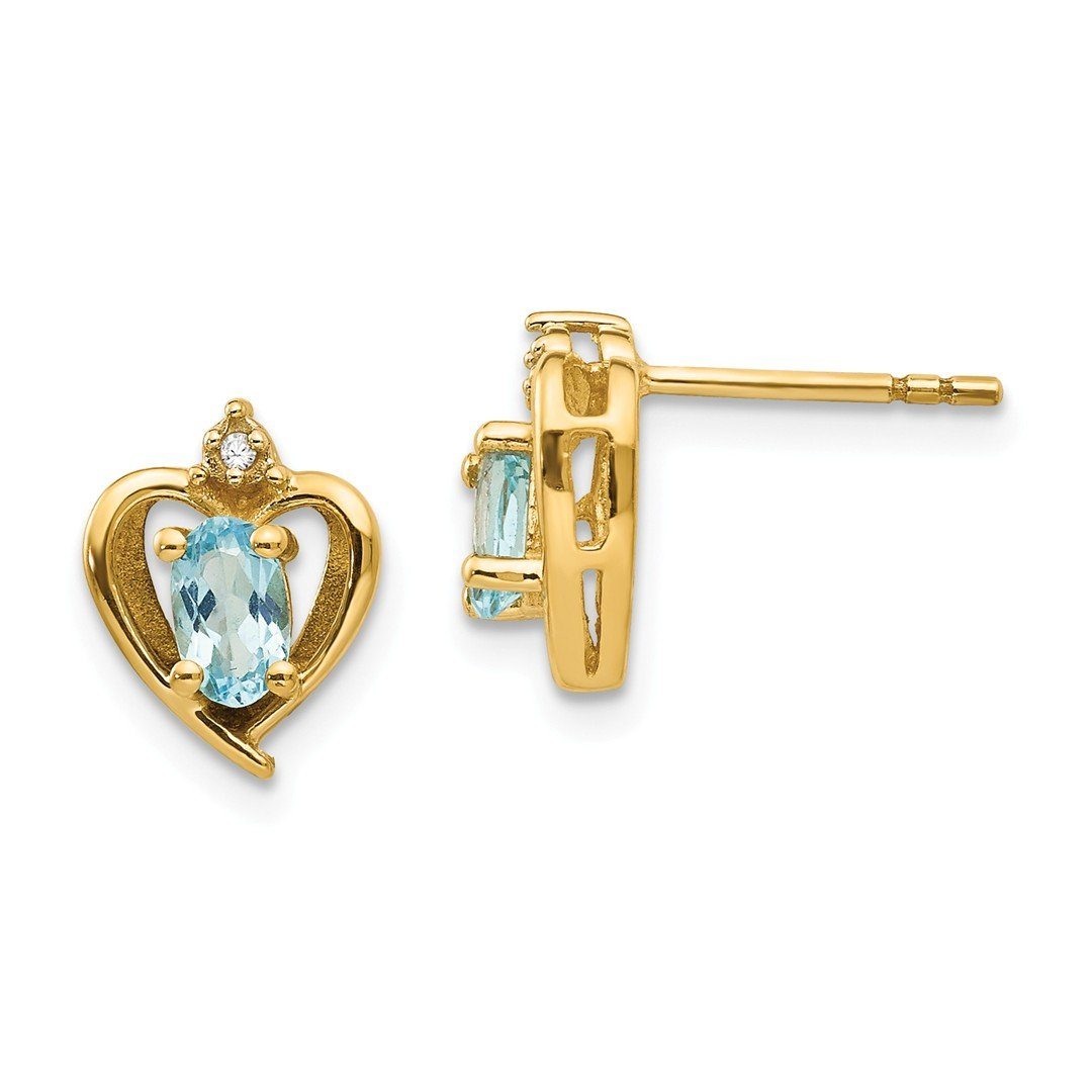 ICE CARATS 14k Yellow Gold Diamond Blue Topaz Post Stud Ball Button Earrings Birthstone December Love Set Style Fine Jewelry Gift Set For Women Heart