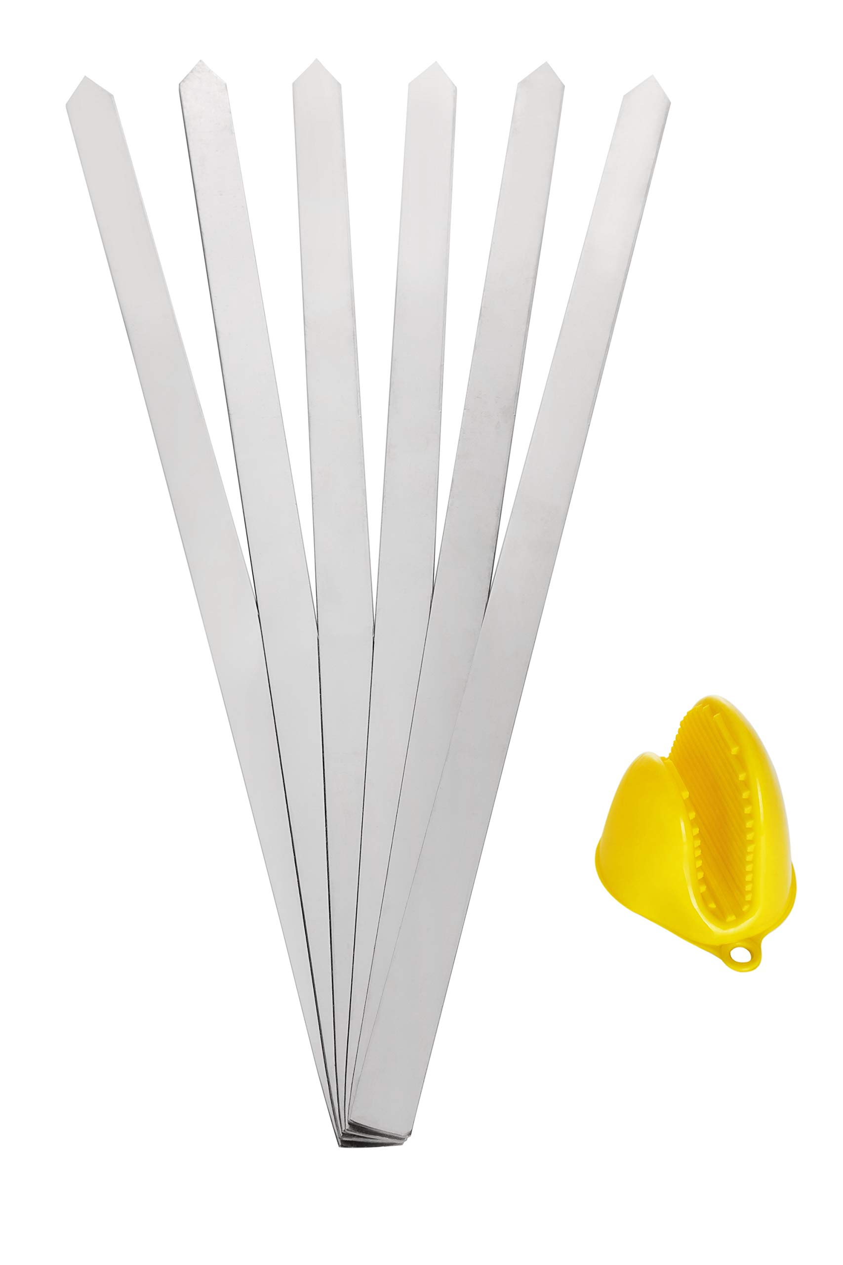 +hom BBQ Kabob Skewers, Long & Wide, Heavy Duty, Stainless Steel, No Wood Handle, Perfect for Koobideh Persian/Brazilian Style, Set of 6 with 1 Mitt
