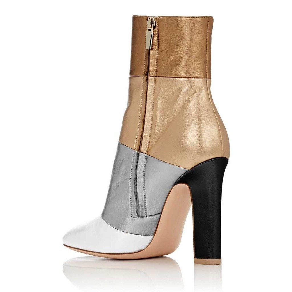 FSJ Women Retro Chunky High Heel Ankle Boots Pointed Toe Booties with Side Zipper Size 4-15 US B074QJWG9S 7.5 B(M) US|Multicolored Matt