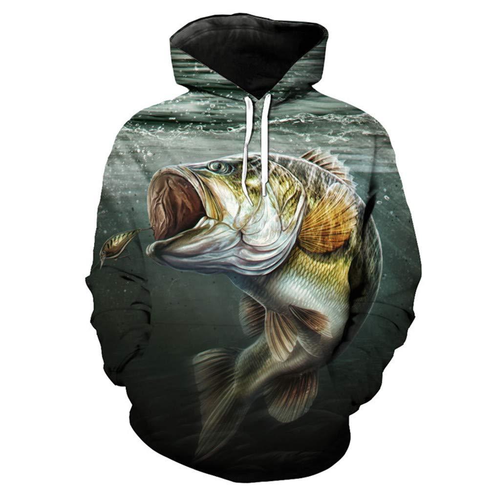Fun Eating Hook Fish Print 3D Mens Hooded Pullover Fish Series