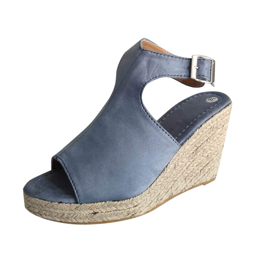 Sunsee-Women Shoes Women's Ladies Fashion Solid Wedges Casual Buckle Strap Roman Shoes Sandals (41/US 9, Gray)