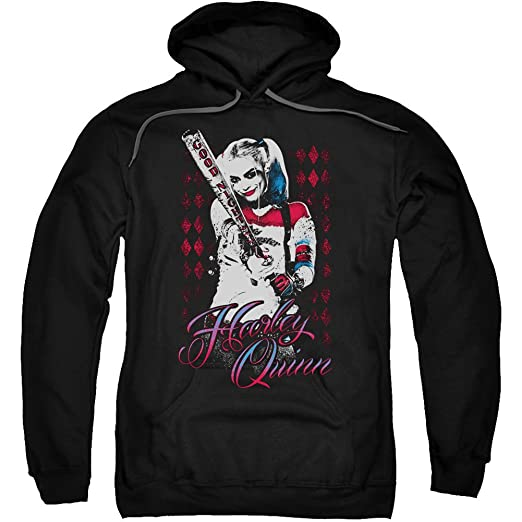 Trevco Suicide Squad Harely Quinn Swinging Baseball Bat Movie Adult Pull Over Hoodie