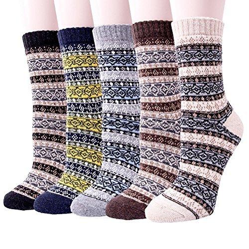 YSense 5 Pairs Womens Knit Warm Casual Wool Crew Winter Socks (fits shoe size 5-8) (A-09) ()