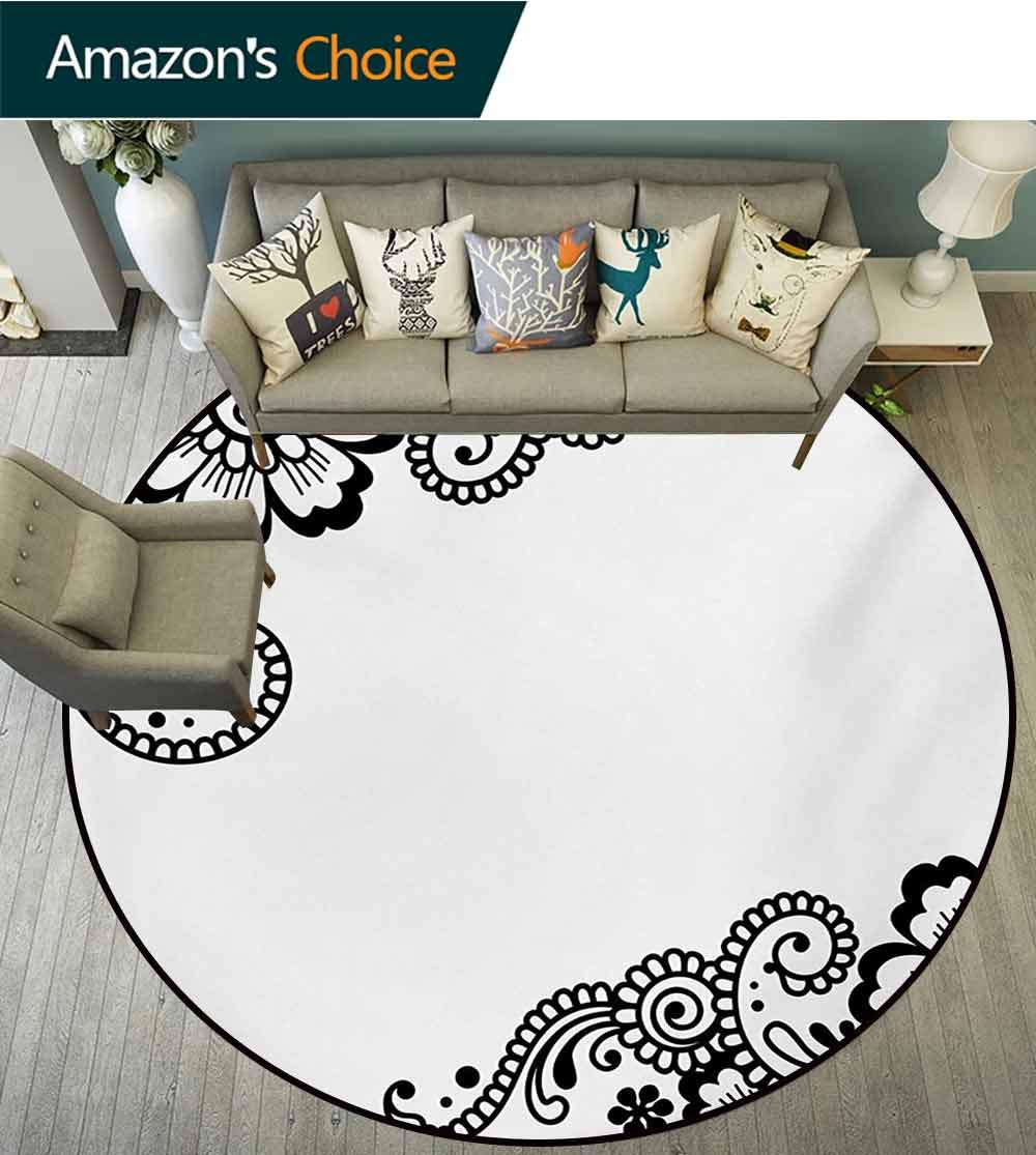 RUGSMAT Henna Non-Slip Area Rug Pad Round,Floral Corner Ornaments with Swirls and Blossoms Monochrome Folkloric Inspirations Protect Floors While Securing Rug Making Vacuuming,Diameter-59 Inch