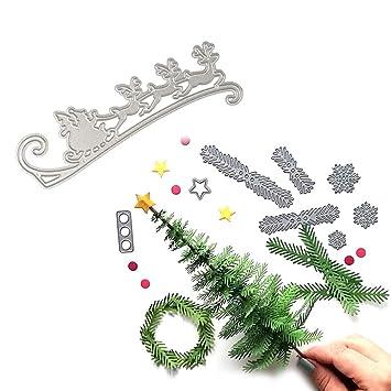 Xiton 2pcs / Set Troqueles de Corte metálico de la Navidad en Relieve Dies Dies Plantilla de Metal Creativo Regalos del Arte moldea DIY (Árbol de Navidad y ...