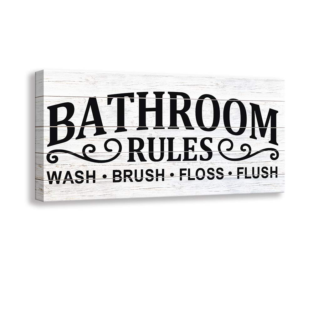 Kas Home Vintage Bath Canvas Wall Art | Rustic Bathroom Rules Prints Signs Framed | Bathroom Laundry Room Decor (8 X 16 inch, Bathroom Rules - 02)