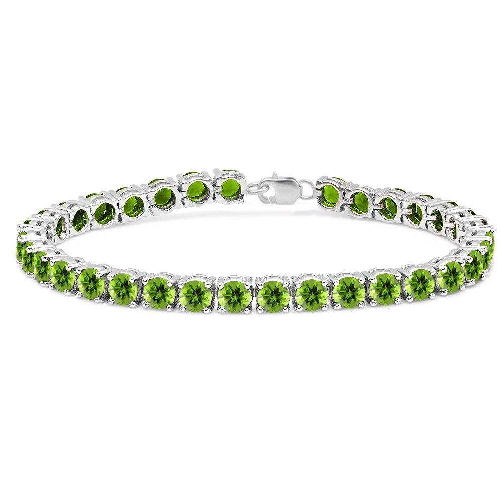 15.00 Carat (ctw) Sterling Silver Real Round Cut Peridot Ladies Tennis Bracelet