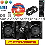 Sony 470 Watt NFC Bluetooth Sound System w/MP3 CD Player, FM Radio, 20 Presets, Play & Sleep Timer, EQ & Bass Boost, 2-Way Bass Reflex Speakers, AUX & USB Input, Wireless Remote + DB Sonic Accessories
