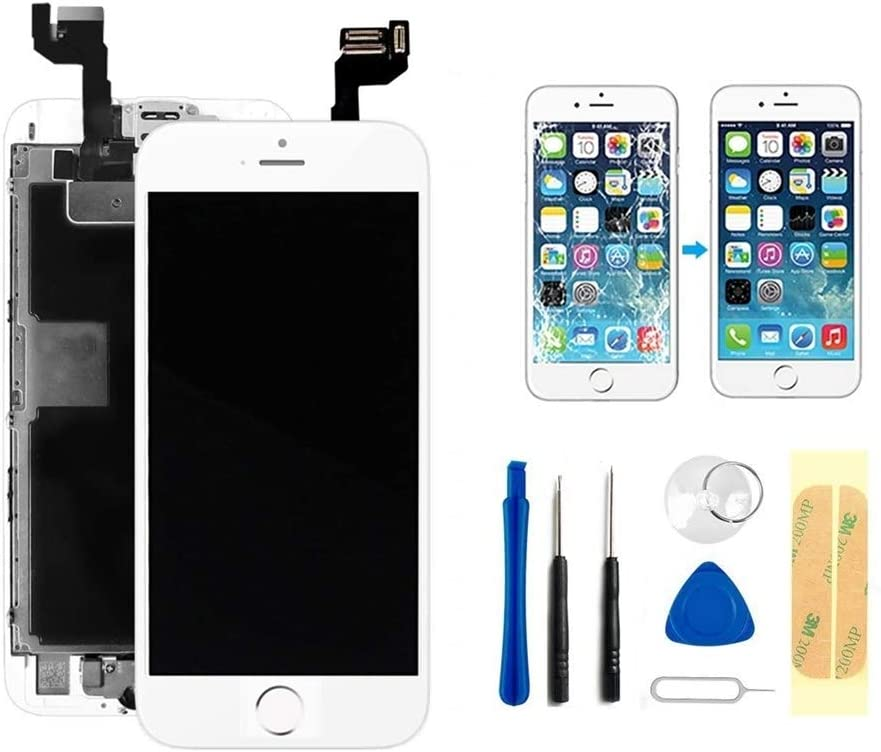 Master Screen for iPhone 6s Screen Replacement Touch Display LCD Digitizer Full Assembly with Front Camera, Proximity Sensor, Ear Speaker, Home Button and Repair Tool Kit (4.7 Inch) (6s White)